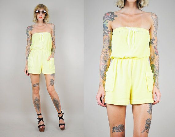 b4992ee293 TERRY CLOTH 80 s strapless ROMPER Pocket Beach Bloused shorts Yellow ...