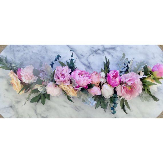 Bright to muted pinks fuschia blush and peach silk peonies and large bright to muted pinks fuschia blush and peach silk peonies and large roses wedding flower garland mightylinksfo