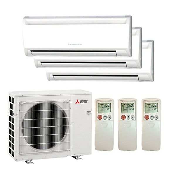 Mitsubishi M3h30w09121200 B Wall Mounted 3 Zone System 30 000 Btu Outdoor 9k 12k 12k Indoor 17 6 Seer Heat Pump System Ductless Heat Pump Ductless