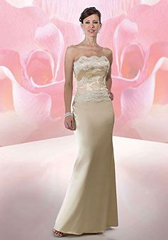 long champagne column natural waist satin mother of the bride dress