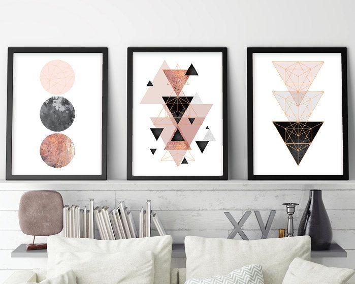 Set Of 3 Downloadable Scandinavian Modern Geometric Prints In Blush Pink Grey Rose Gold Minimalist Poster Scandi Wall Art Pink Bedroom Decor Scandinavian Print Minimalist Prints Print Sets