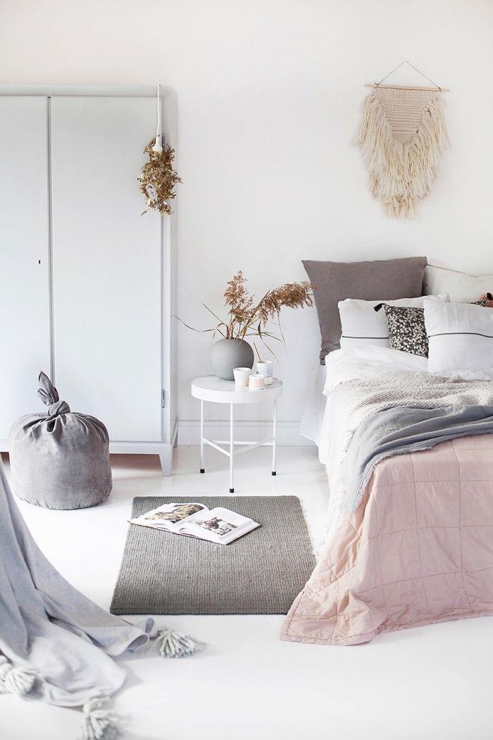 deco scandinave pas cher tapis gris linge de lit gris blanc et rose - Linge De Lit Scandinave