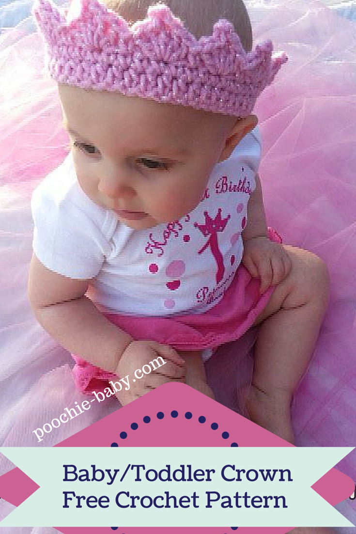 Free Crochet Pattern for Adorable Baby Crown on http://poochie-baby ...