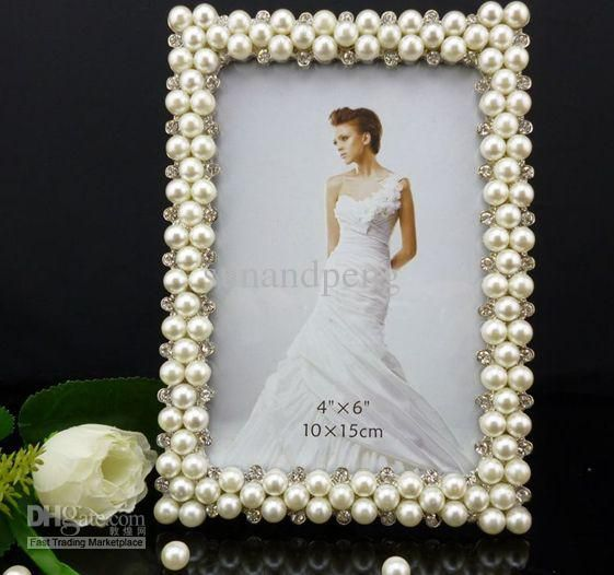 Metal Frames 6rectangular Shape Pearl Diamond Inlaid Metal Alloy Photo Frame Wedding Photo Frame Bridal Gifts Canadian Wedding Favors Outdoor Wedding Favors Fro Framed Wedding Photos Wedding Frames Outdoor Wedding Favors