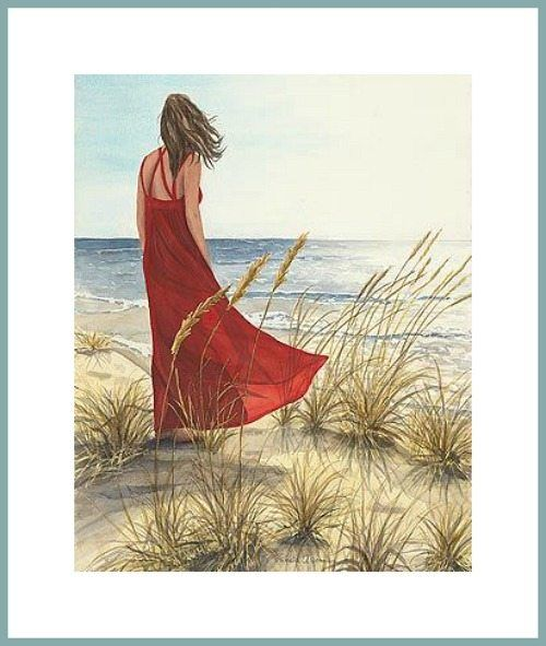 Dreamy Paintings Of Women On The Beach Looking To Sea Strand