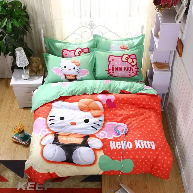 Home Textiles Bedclothes Heart Shaped Hello Kitty Child Bedding Sets  Include Duvet Cover Bed Sheet Pillowcase