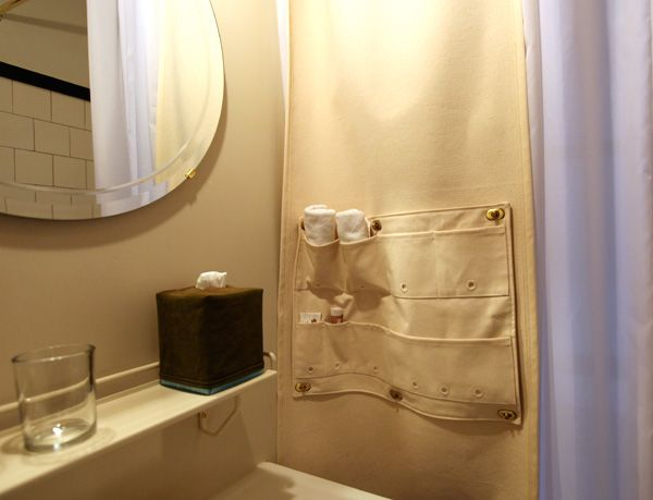 Canvas Hanging From Shower Curtain, Has Pockets For Extra Storage.  Brilliant! | Vintage Tile Bath Ideas | Pinterest | Best Extra Storage Ideas
