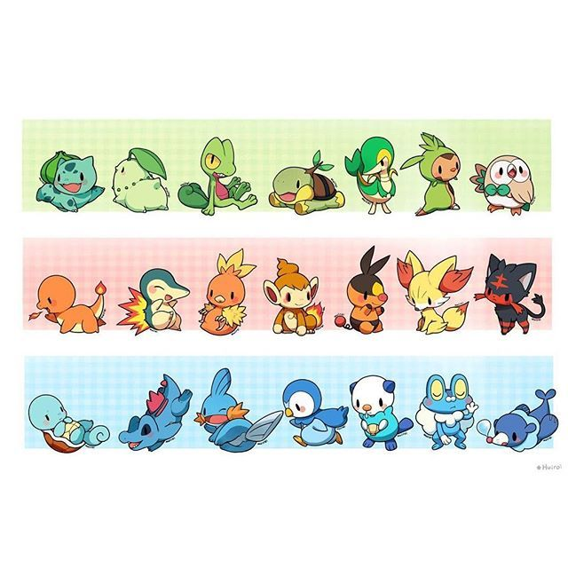 Bulbasaur, Chikorita, Treecko, Turtwig, Snivy, Chespin, Rowlet, Charmander, Cyndaquil, Torchic, Chimchar, Tepig, Fennekin, Litten, Squirtle, Totodile, Mudkip, Piplup, Oshawott, Froakie, and Popplio.