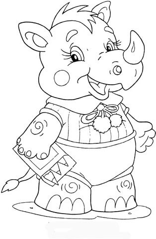 Baby Rhinoceros At School Coloring Page From Preschool Category Select From 25970 Printable Crafts Coloring Pages Animal Coloring Pages Pattern Coloring Pages