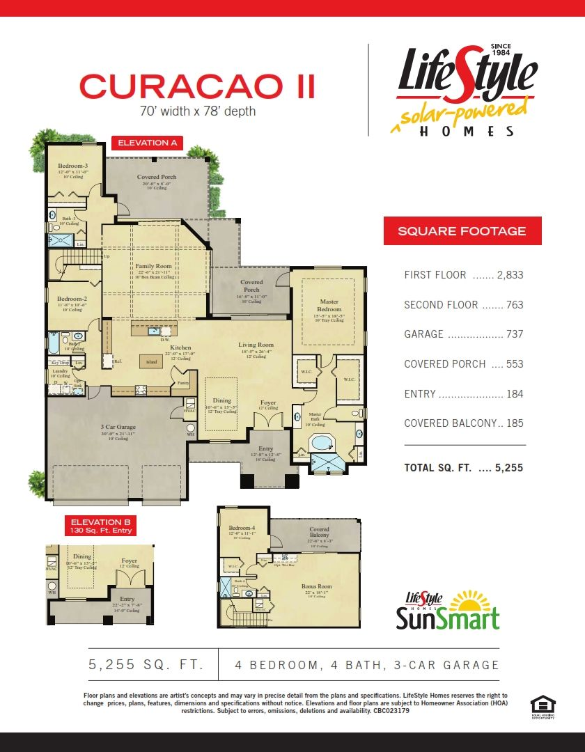 Curacao Ii Lifestyle Solar Powered Homes Brevard County Home Builder Lifestyle Homes Garage Floor Plans Home Builders Curacao