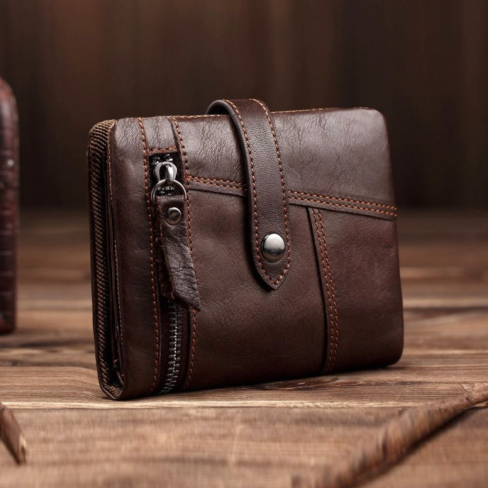 Mens Genuine Leather Wallet Small Vintage Purse Card Cash Holder