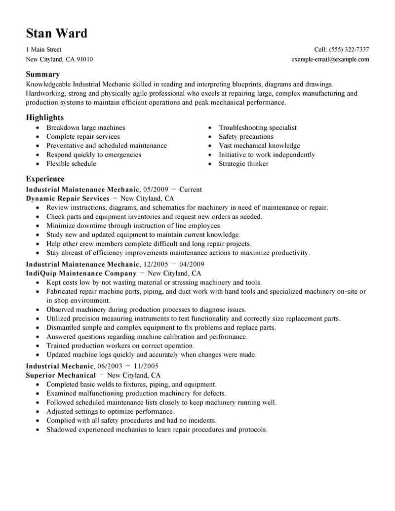 Best Industrial Maintenance Mechanic Resume Example Livecareer Resume Examples Cv Examples Professional Resume Examples