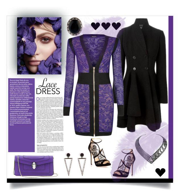 """Pretty Lace Dress"" by affton ❤ liked on Polyvore featuring Alexander McQueen, Bulgari, Balmain, Jimmy Choo, Ileana Makri and Yves Saint Laurent"