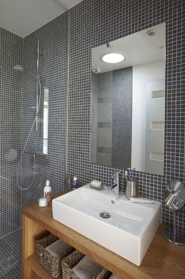 rsultat de recherche dimages pour dco petite salle de bain gris blanc bois