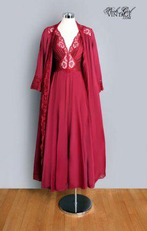 7aac7b2ecd66 1960 s Burgundy Olga Negligee Gown peignoir robe Set.