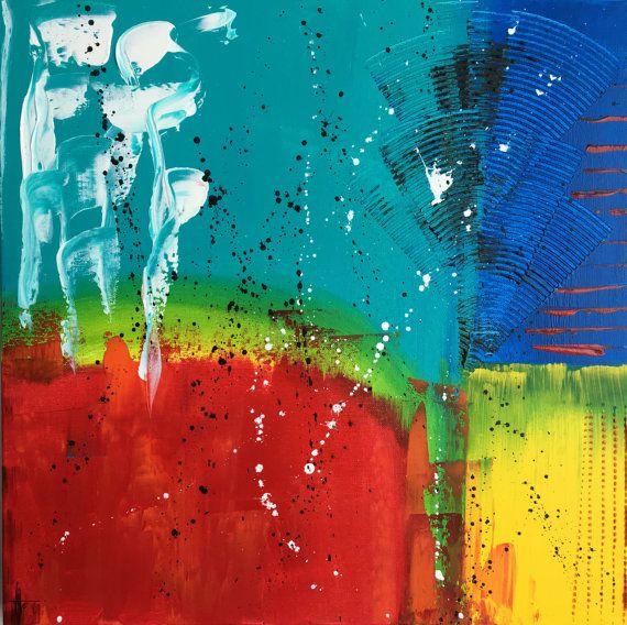 Tableau abstrait peinture unique fait main