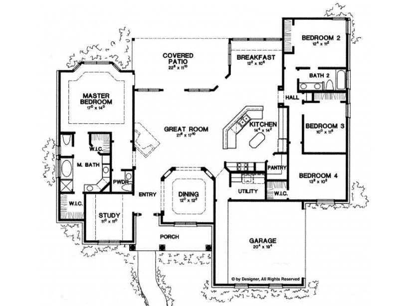 Ranch Style House Plan 4 Beds 2 5 Baths 2500 Sq Ft Plan 472 168 House Plans One Story Bedroom House Plans Ranch Style House Plans