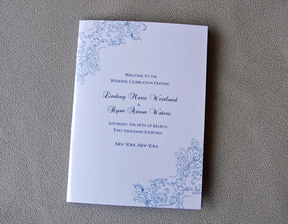 lace design wedding program bi fold 5 x7 wedding programs