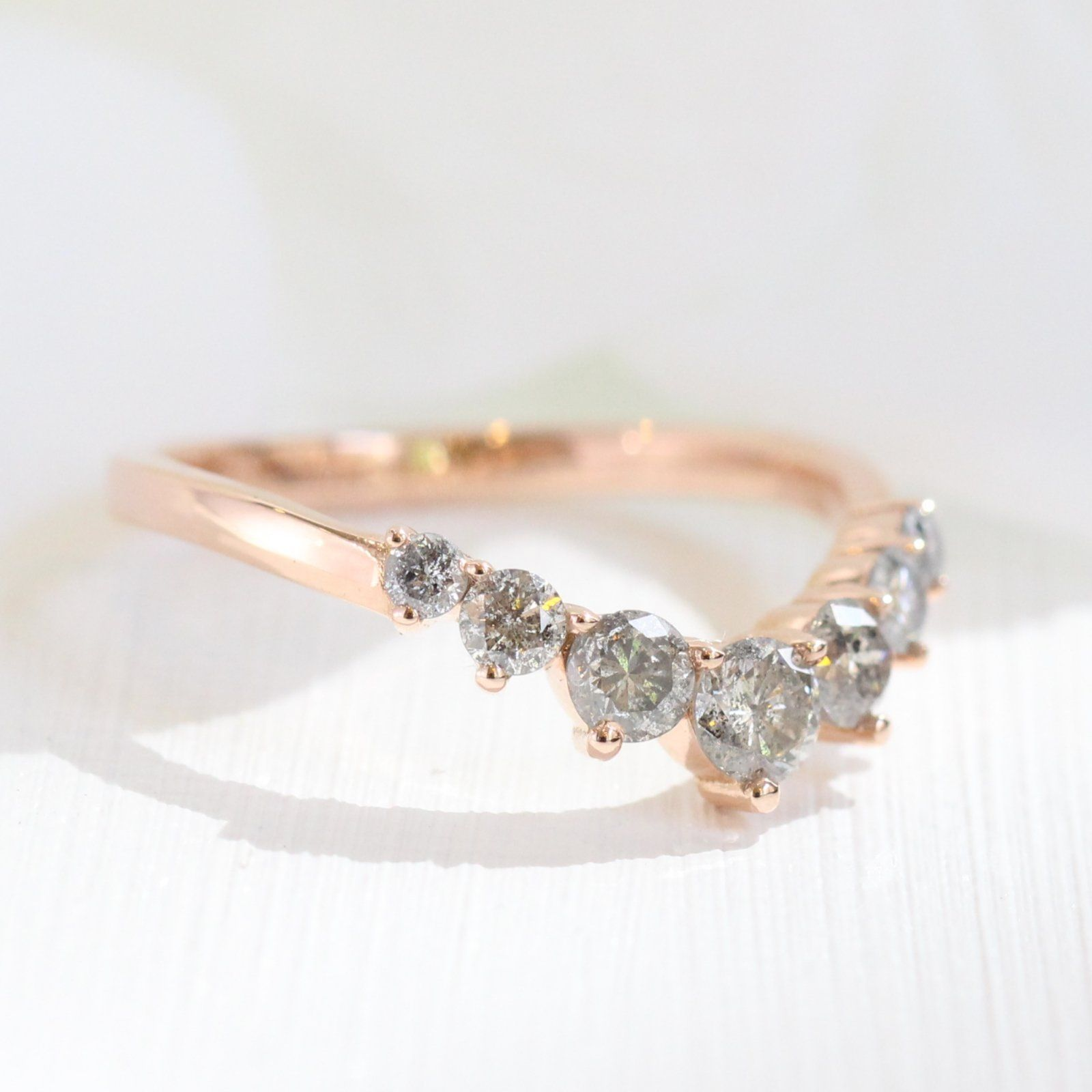 Large Grey Diamond 7 Stone Ring in Rose Gold Curved Band