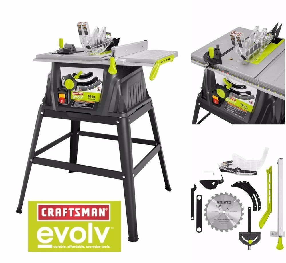 Craftsman Evolv 15 Amp 10 Table Saw With Stand Accessories Garage Mechanic Ebay Craftsman Table Saw Stand Woodworking