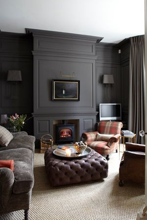 Bringing Wall To Carpet Back Dark Painted WallsDark Gray Grey ColorWhite WallsGrey FireplaceLiving Room