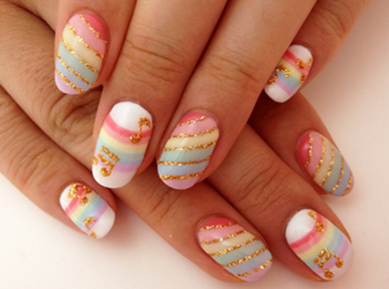 Love these, but once again I would no do the notes. - 65 Japanese Nail Art Designs Uñas Fabulosas-losas Pinterest