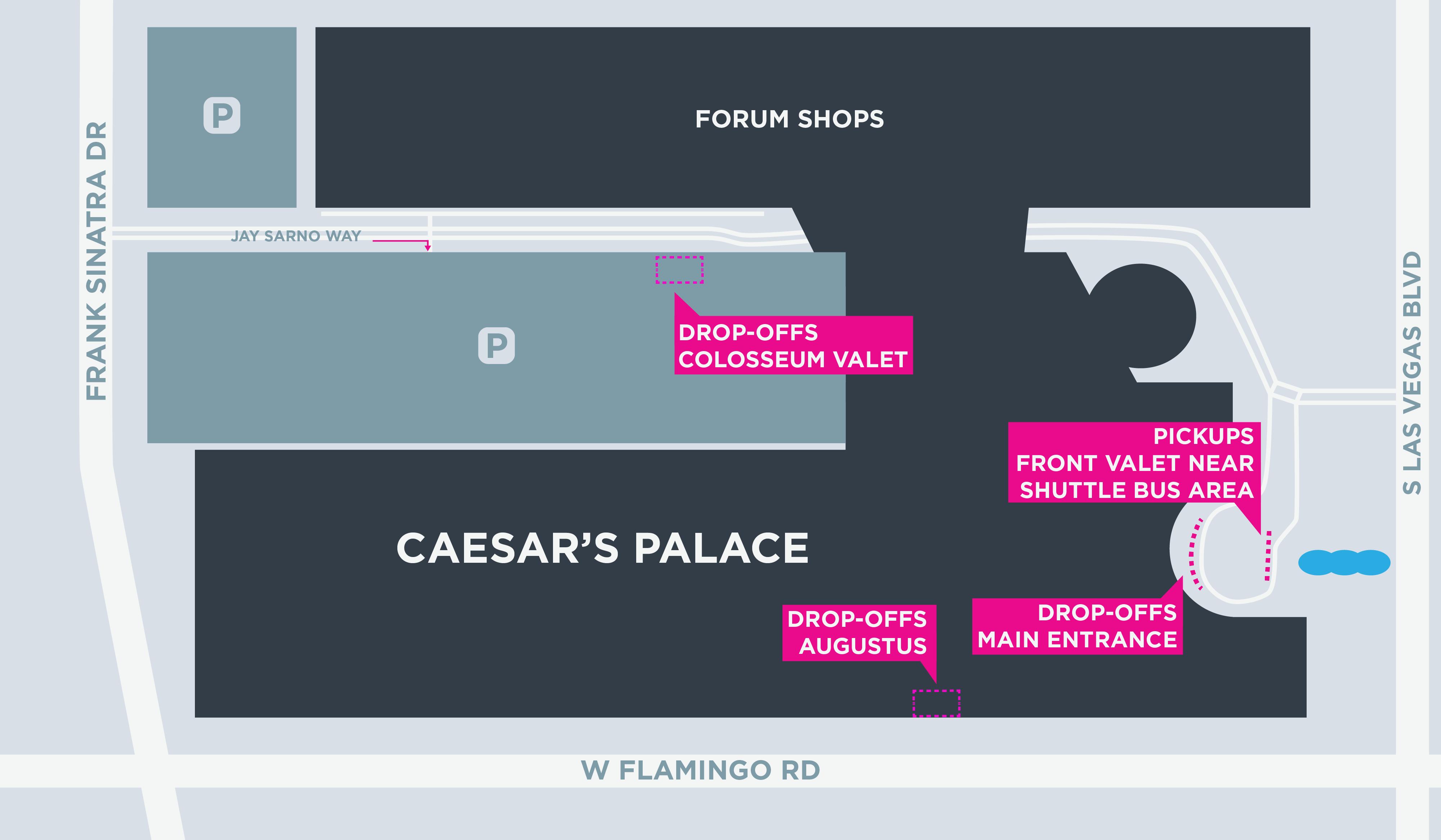 Caesar's Palace Map #LasVegas #casino #hotel #Strip #Lyft