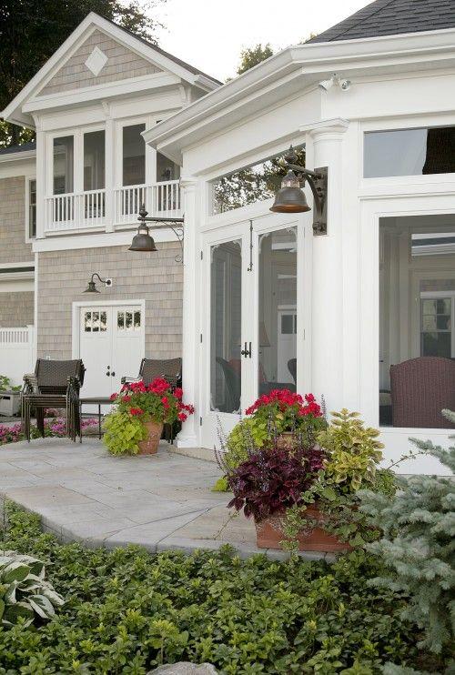 Exterior Lighting And Double Door Porch Doors