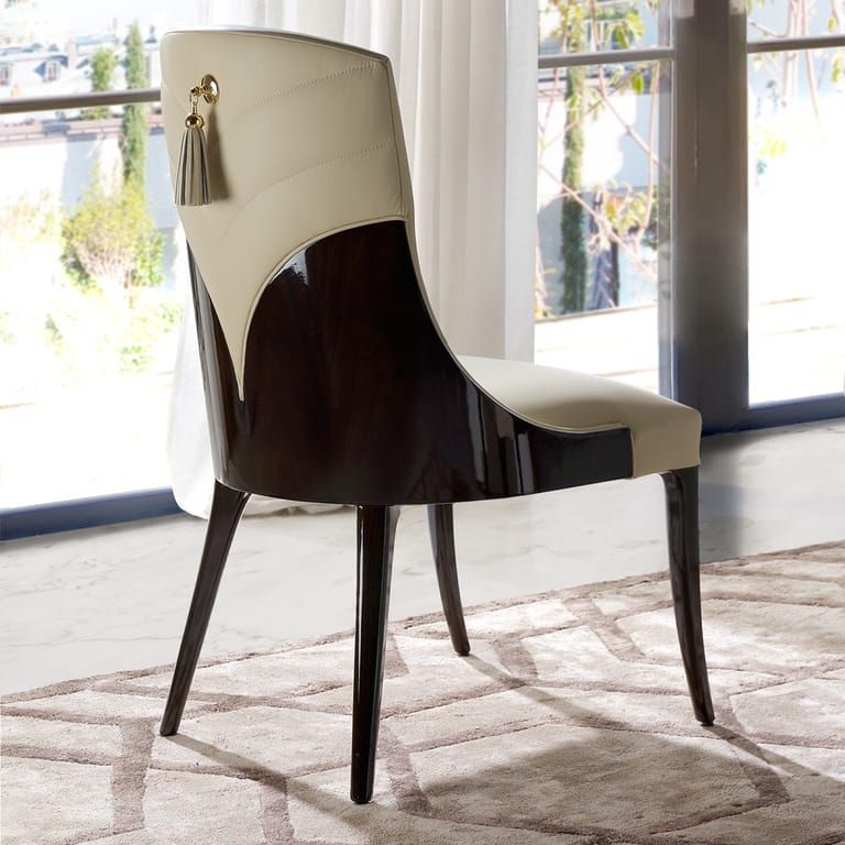 Art deco inspired walnut leather dining chair juliettes