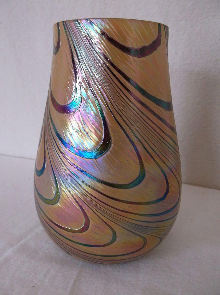 Irridescent Swirl Art Glass Rainbow Gold Blue Purple Teleflora Vase
