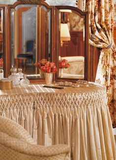 [Beautiful Example Of Smocking. It Looks Really Good With The Curtains.]  Vanity With Skirt   Google Search