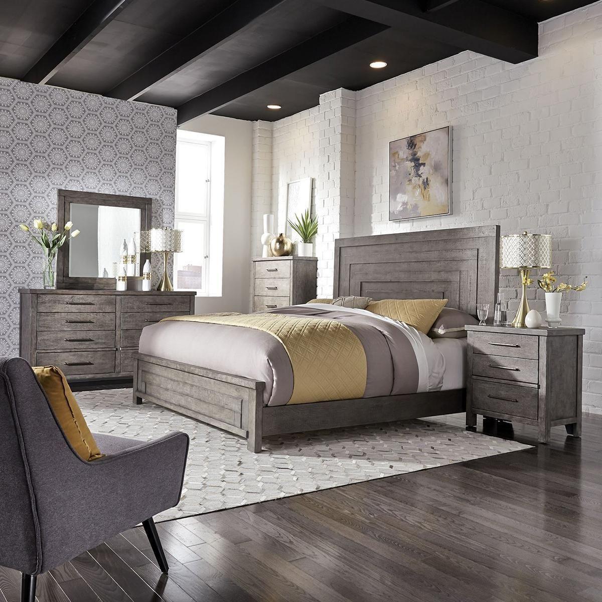 Belle Furnishings Modern Farmhouse King Bed in Dusty