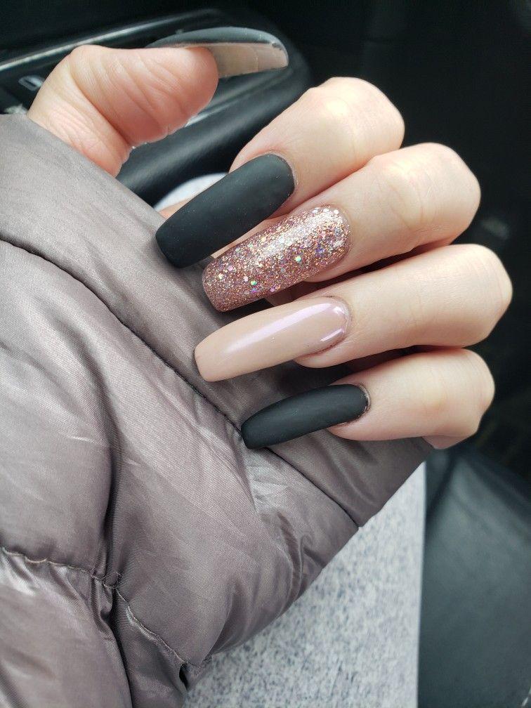 Matte Black Rose Gold Chrome Pink Glitter Rose Gold Chrome Pink Glitter Nails