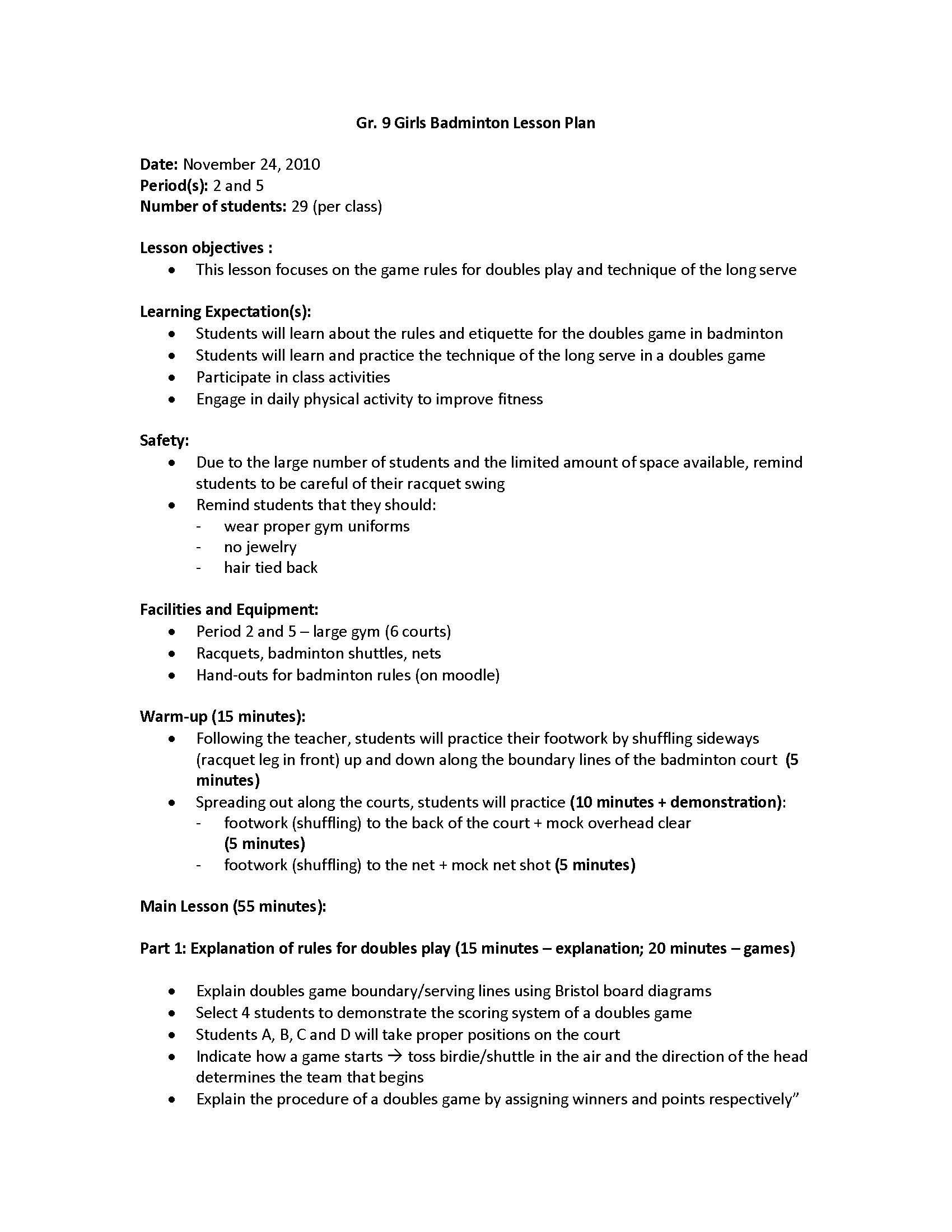 Gr 9 Badminton Lesson Plan