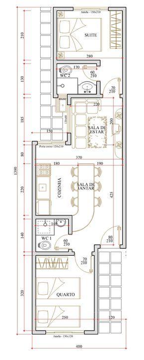 planos de casas 5 metros de frente