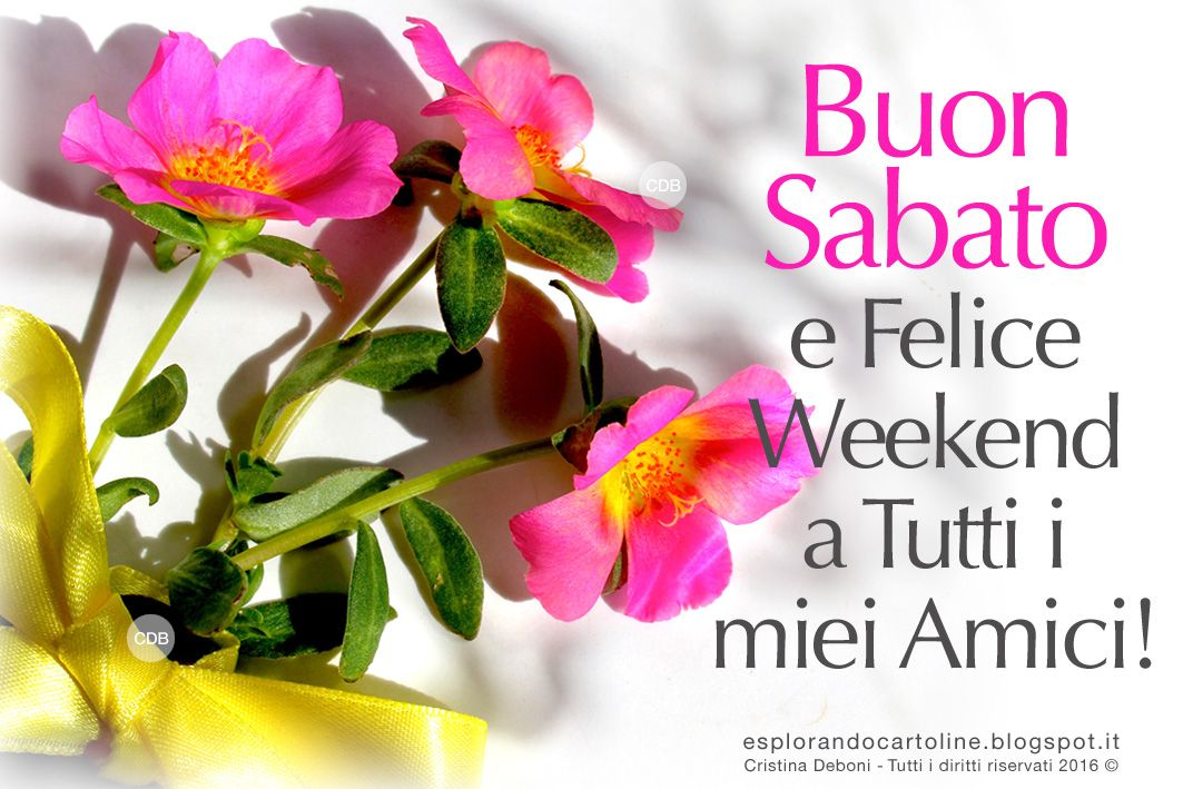 Buon sabato e felice weekend auguri con fiori greetings for Frasi buon sabato