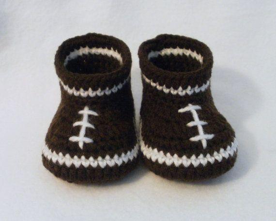 Crochet Baby Booties Football Baby Booties Crochet Football Booties ...
