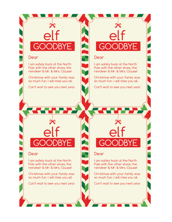 Magic Elf Goodbye Note Elves and Elf ideas - goodbye note