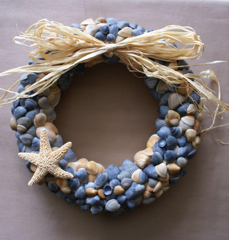"Seashell Wreath, 11"" Blue Beach Wreath Coastal Decor"