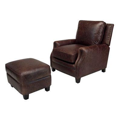 Opulence Home Bradford Leather Chair and Ottoman   Wayfair
