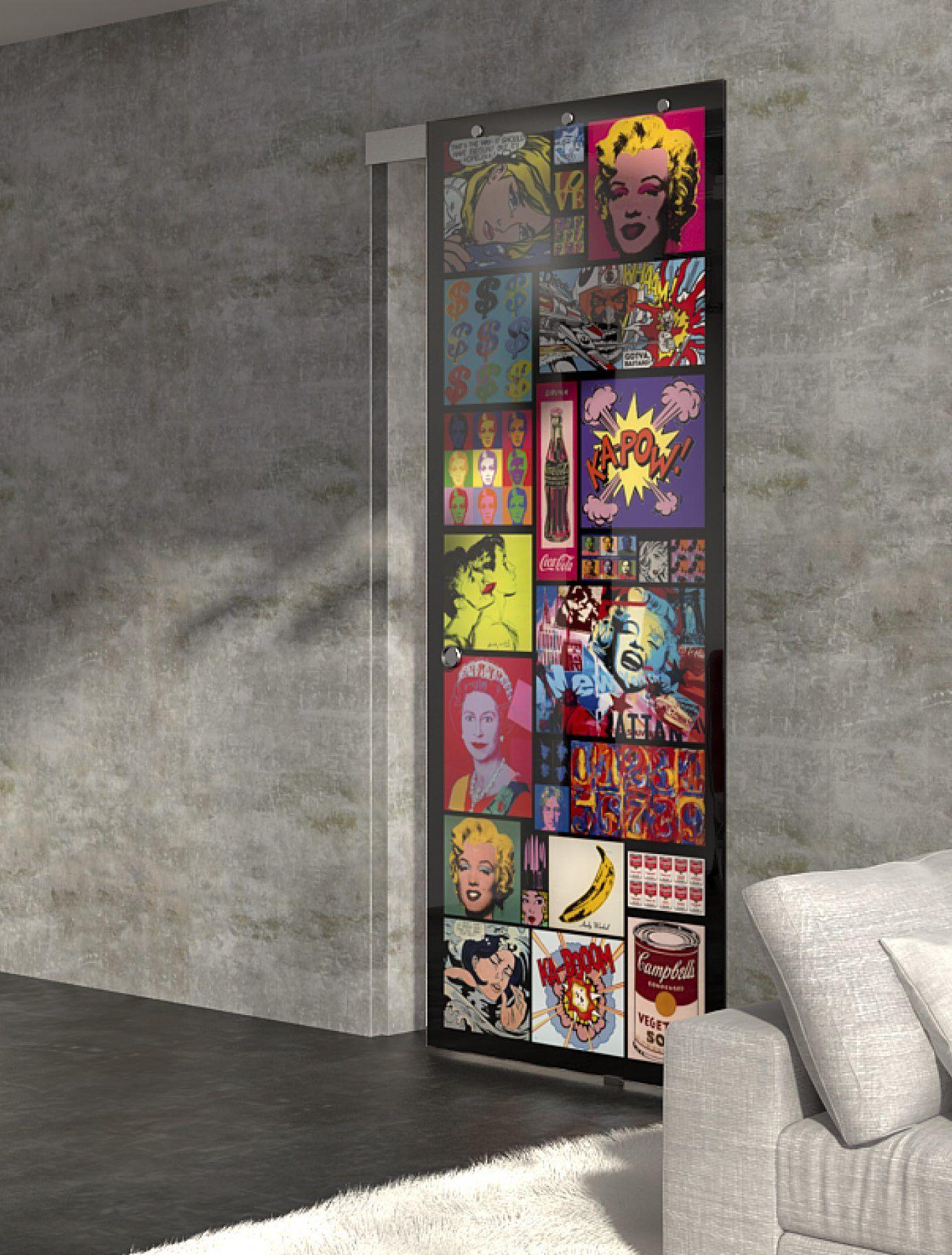 Sliding door glamour design glass interior design pop art