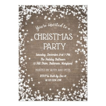 Rustic Burlap Country Christmas Party Stars Card Invitation ideas