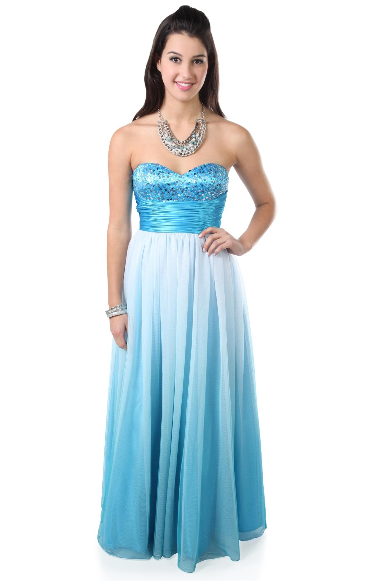 strapless ombre glitter long prom dress with ball gown skirt ...
