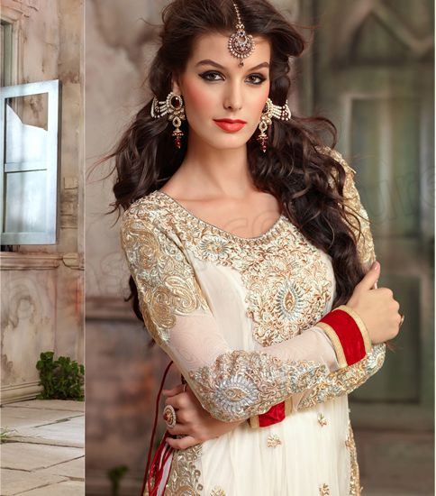 Semi Georgette Anarkali Wedding Suit Red And White Frock Designs Designer Indian For
