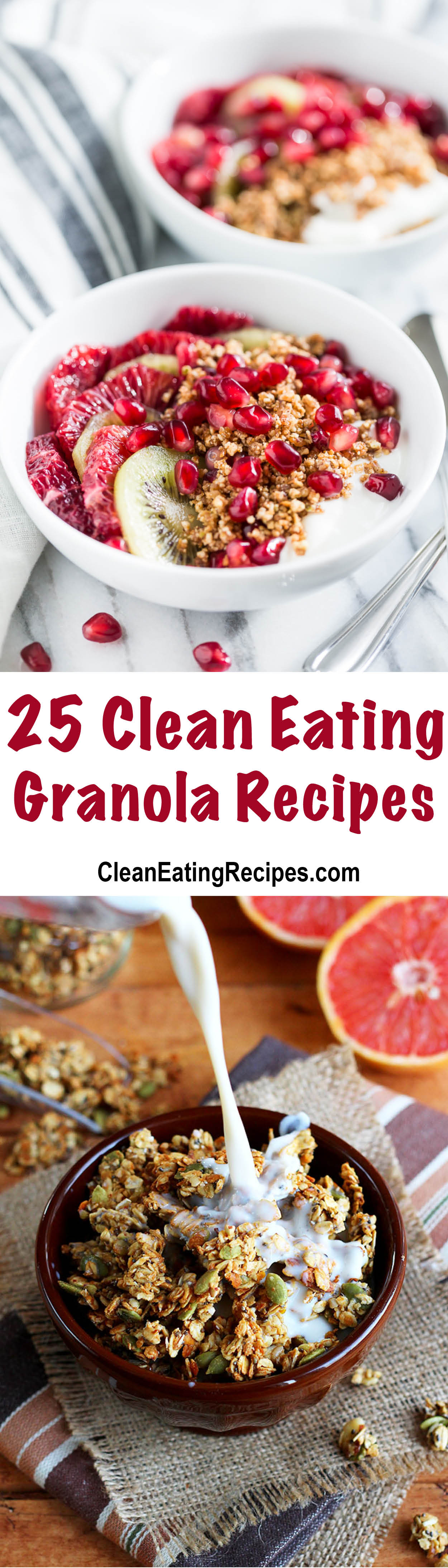 I love this list of Clean Eating granola recipes because they all look good and there is an image for every recipe, so I can see which ones look good to me.