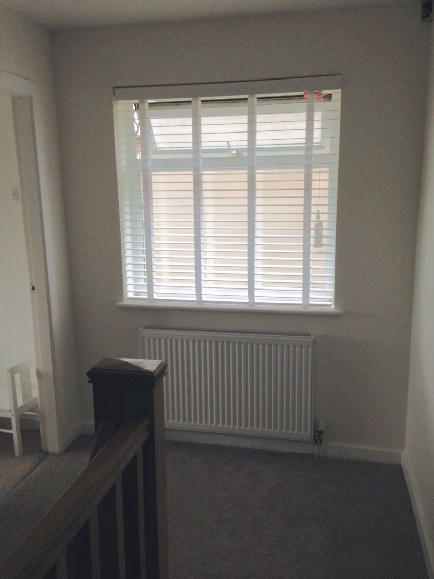 Wide Slat Wooden Blinds Blinds 2 Go True White And Linen Hallway