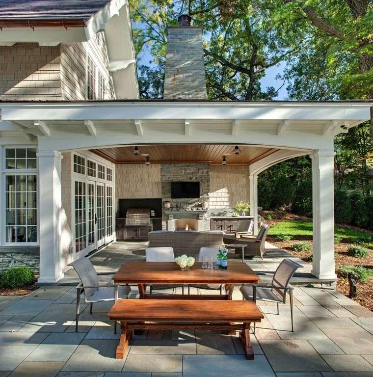 Cheminées extérieures  idées pour jardin, terrasse et balcon - Cuisine D Ete Exterieure