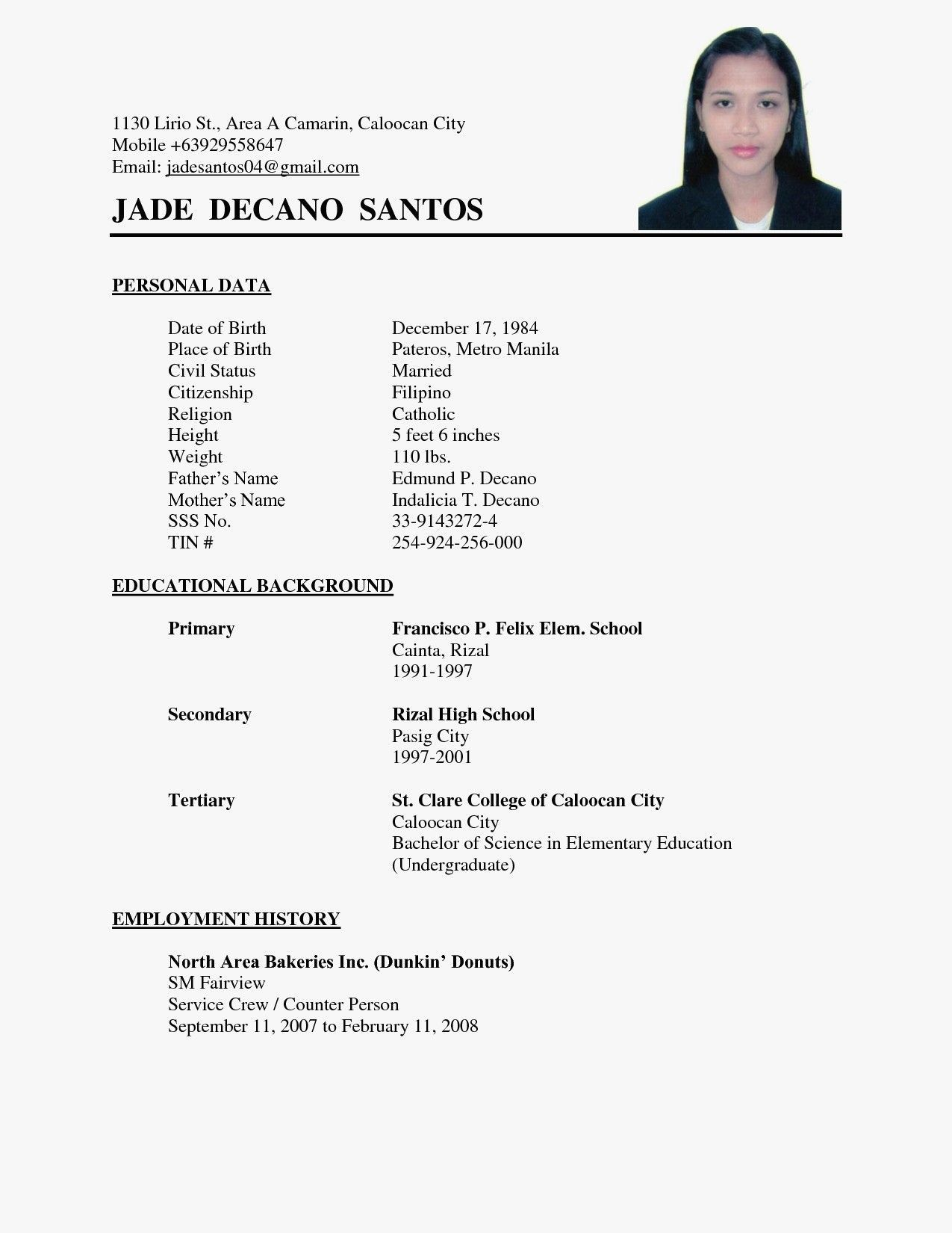 Simple Sample Resumes Example Simple Resumes Sample Resume Format