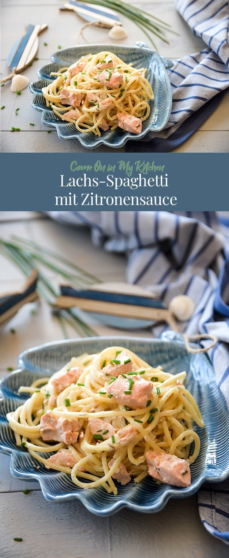 Salmon spaghetti with lemon sauce - Home and Herbs -  Pasta with salmon in lemon sauce  -