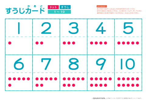 数字カード 数字のみ 数字の読み方 ものの数え方 指での数え方 数